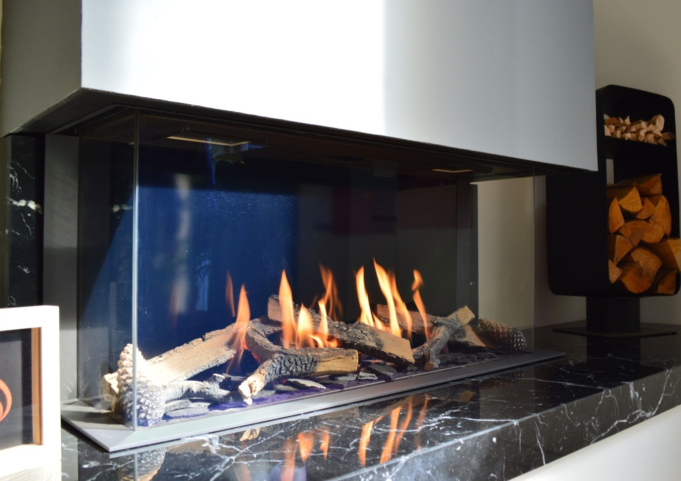 new fireplaces now being placed in the stonewoods showroom